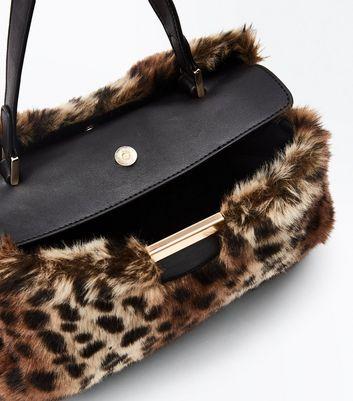 Brown Leopard Faux Fur Top Handle Bag New Look