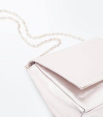Rose Gold Shimmer Clutch Bag New Look