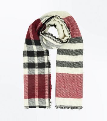 Red Check Pattern Boucle New Look