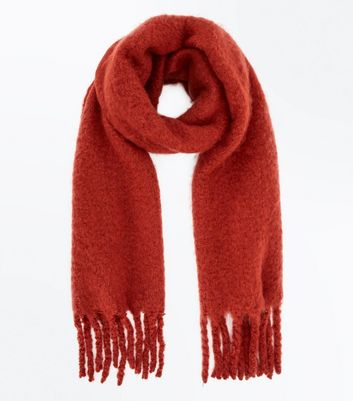 Rust Boucle Fringed Scarf New Look