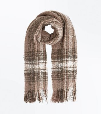Khaki Check Tassel Scarf New Look