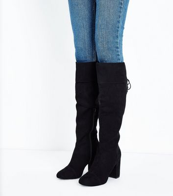 Wide Fit Black Suedette Block Heel Knee High Boots New Look