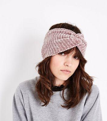Pink Chenille Knot Headband New Look