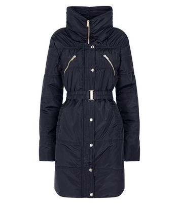 Black Belted Longline Cocoon Puffer Jacket New Look