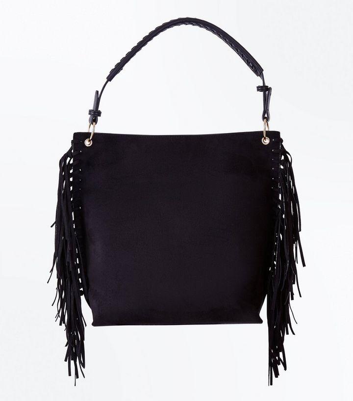 c7373544be Black Suedette Fringe Side Hobo Bag