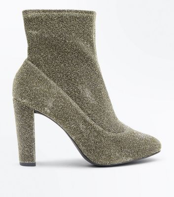 Wide Fit Gold Glitter Block Heel Sock Boots New Look
