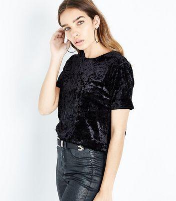 Black Velvet T-Shirt New Look