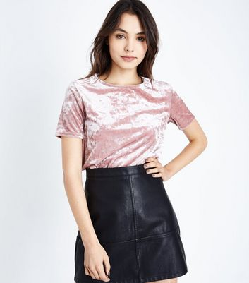 Lilac Velvet T-Shirt New Look
