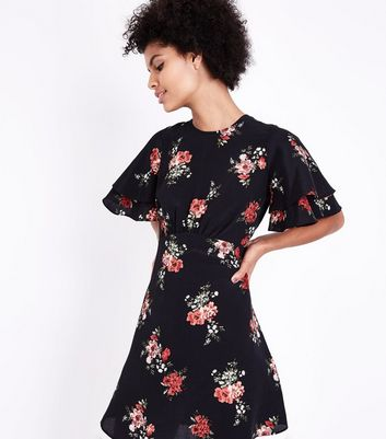 Black Floral Print Tiered Sleeve Tea Dress New Look