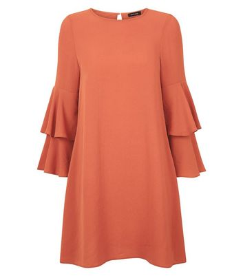 Orange Tiered Sleeve Tunic Dress New Look