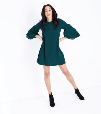 Dark Green Tiered Sleeve Tunic Dress New Look