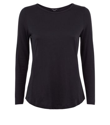 Petite Black Long Sleeve Crew Neck Top New Look