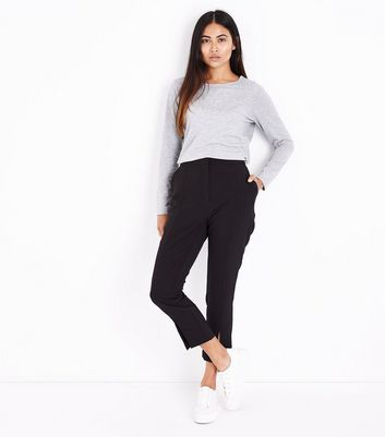 Petite Grey Long Sleeve Crew Neck Top New Look