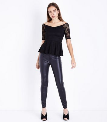 Black Lace Peplum Bardot Top New Look