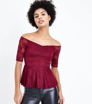 Burgundy Lace Peplum Bardot Top New Look