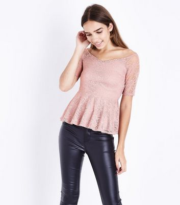 Mid Pink Lace Peplum Bardot Top New Look