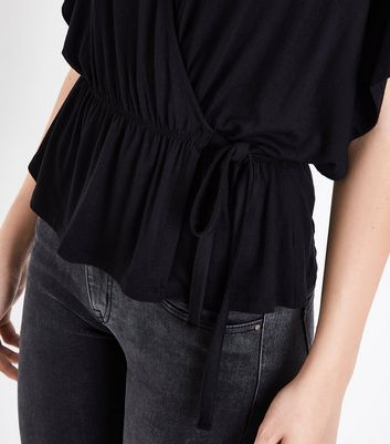 Black Wrap Front Kimono Top New Look