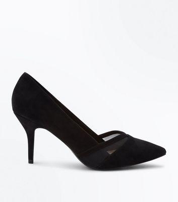 Wide Fit Black Comfort Flex Suedette Mesh Panel Courts New Look