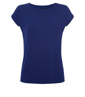 Blue Rolled Sleeve T-Shirt New Look