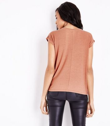 Dark Coral Rolled Sleeve T-Shirt New Look