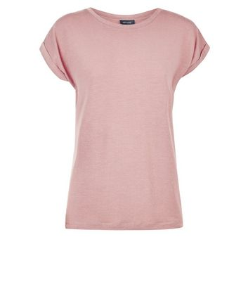Light Coral Rolled Sleeve T-Shirt New Look
