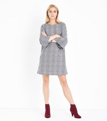 Pale Grey Check Bell Sleeve Tunic Dress New Look