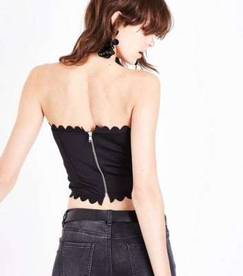 Black Scallop Trim Bandeau Top New Look