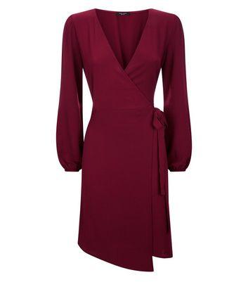 Petite Burgundy Asymmetric Hem Wrap Dress New Look