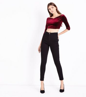 Burgundy Studded Velvet Sweetheart Crop Top New Look