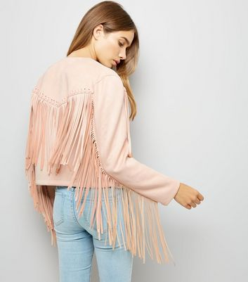 Cameo Rose Pink Suedette Tassel Trim Jacket New Look