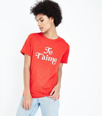 Red Je T'aime Slogan T-Shirt New Look