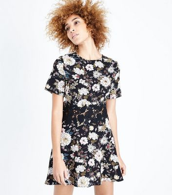 Black Floral Crochet Waist Playsuit New Look