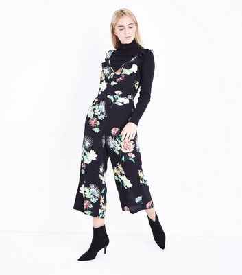 Black Floral Print Frill Trim Culotte Jumpsuit New Look