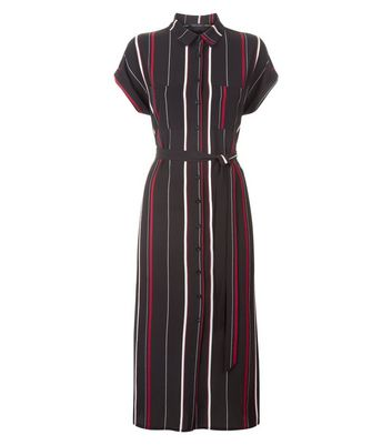Black Stripe Midi Shirt Dress New Look