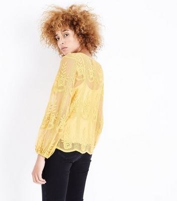 Yellow Floral Embroidered Balloon Sleeve Top New Look