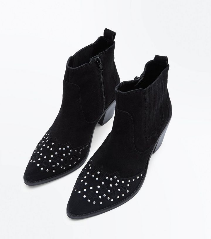 d0eeb4407fb Wide Fit Black Suede Studded Western Boots Add to Saved Items Remove from  Saved Items