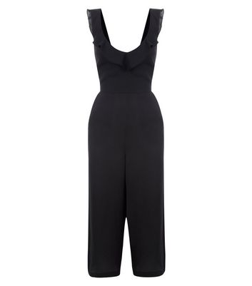Black Frill Trim Culotte Jumpsuit New Look