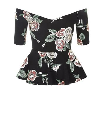 Black Floral Puff Print Peplum Hem Bardot Neck Top New Look