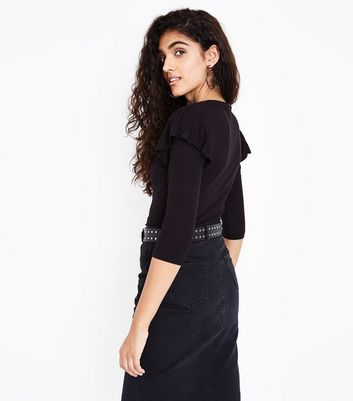 Black Ribbed Frill Trim 3/4 Sleeve Top New Look