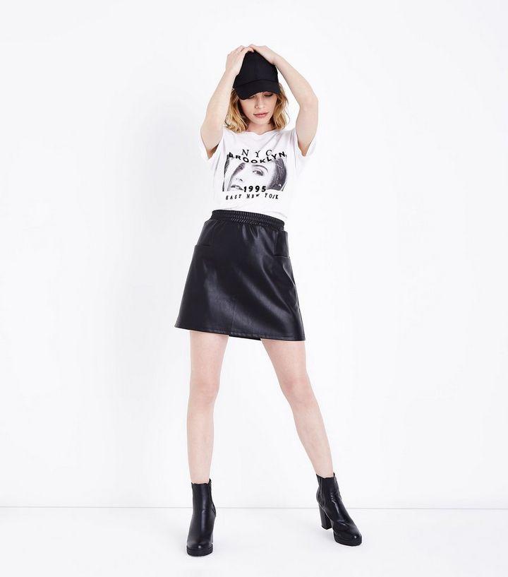 c28838d81 Noisy May Black Leather-Look Mini Skirt | New Look