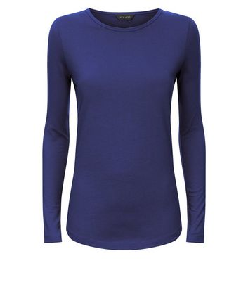 Blue Long Sleeve Crew Neck T-Shirt New Look