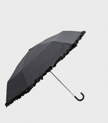 Black Frill Edge Crook Handle Umbrella