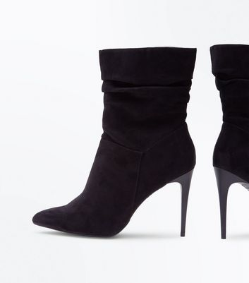 Black Suedette Stiletto Heeled Calf Boots New Look