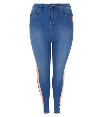Curves Blue Stripe Side High Waist Skinny Jeans New Look