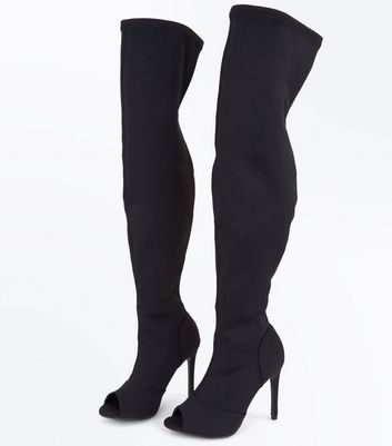 Black Stretch Textile Peep Toe Over the Knee Boots New Look