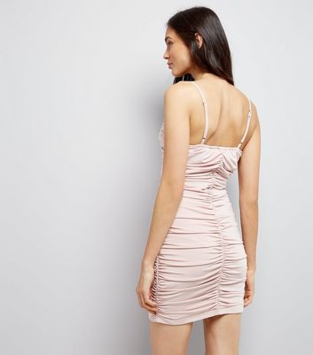 Parisian Shell Pink Ruched Bodycon Dress New Look