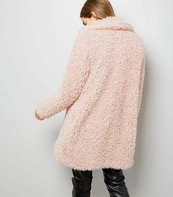 Parisian Shell Pink Faux Teddy Fur Coat New Look