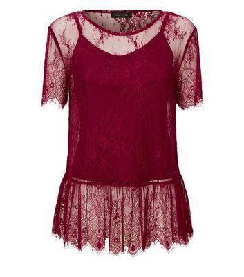 Burgundy Lace Scallop Hem Peplum Top New Look