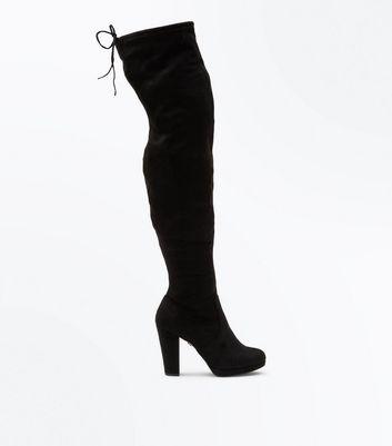 Black Comfort Suedette Platform Over the Knee Boots New Look