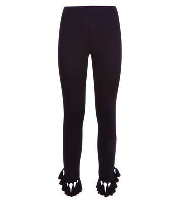 Black Tassel Hem Leggings New Look